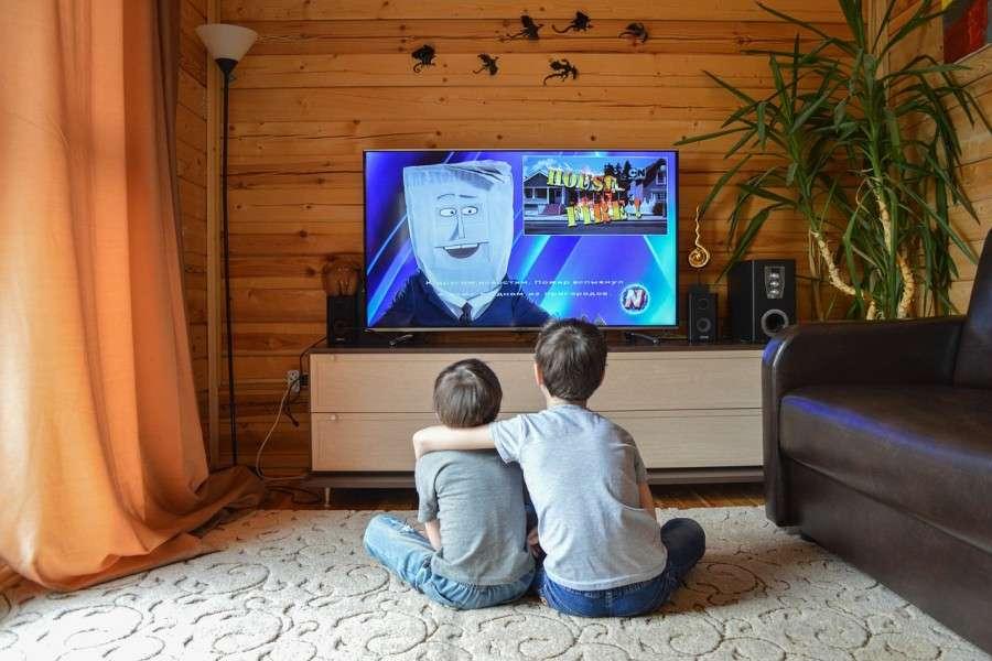 Brothers watching Nickelodeon